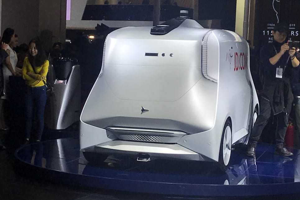 The second vehicle is an autonomous logistics vehicle for Chinese online retail giant JD.