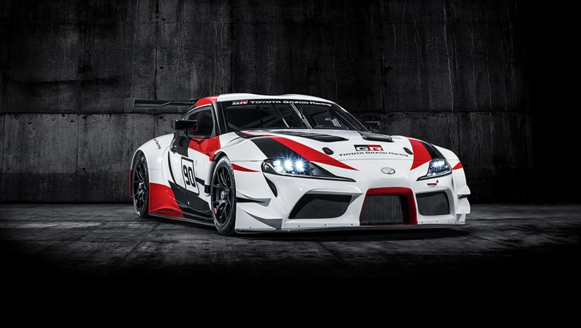 This is the new Toyota Supra - hiding under wings and arches
