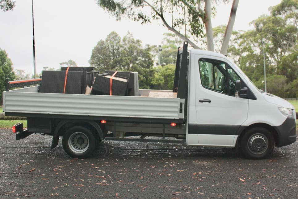 The cab-chassis is more of a small truck than a ute, with workers at the plant clearly building the front third of a Sprinter van before knocking off work early.