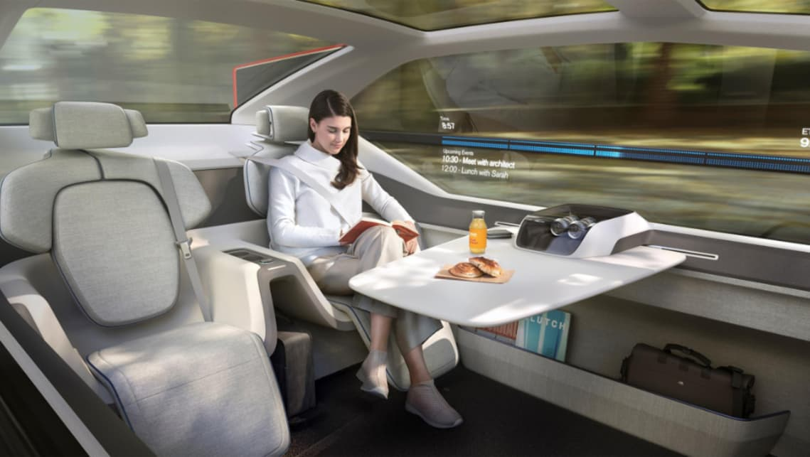 The 360c concept previews the kinds of interior treatments available when you don't have to worry about driving.