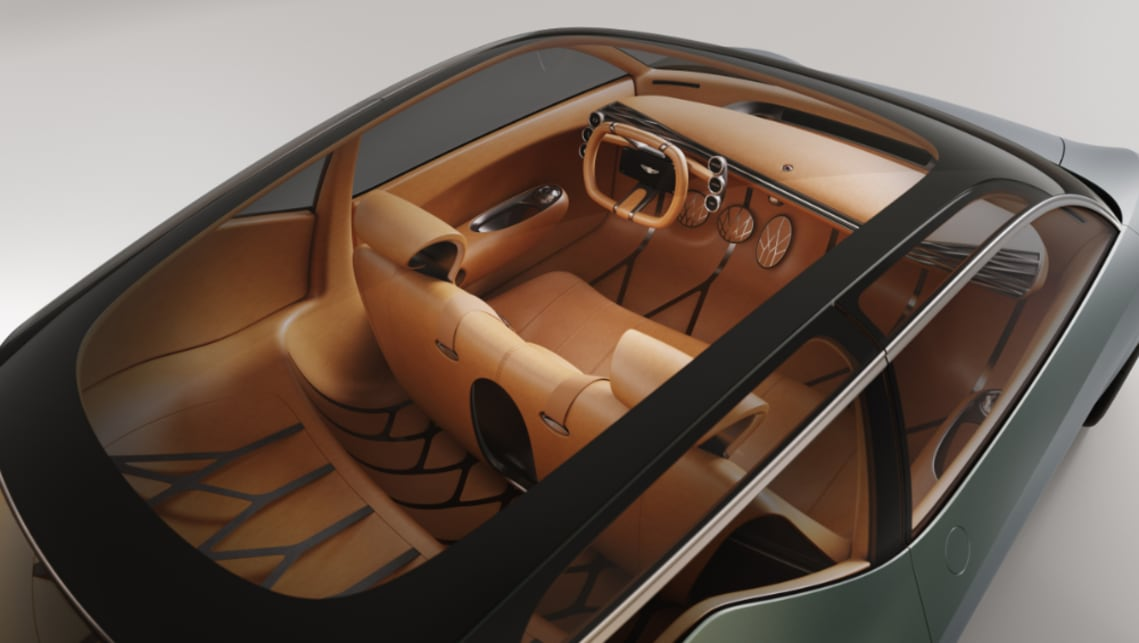 The interior is awash with cognac leather.