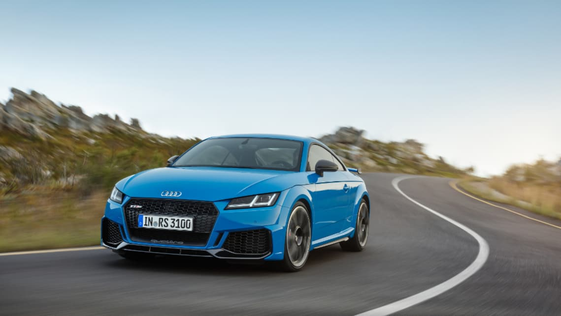Audi has focused its attention on the TT RS's exterior, with a new front spoiler designed and interchangeable wing mirror caps.