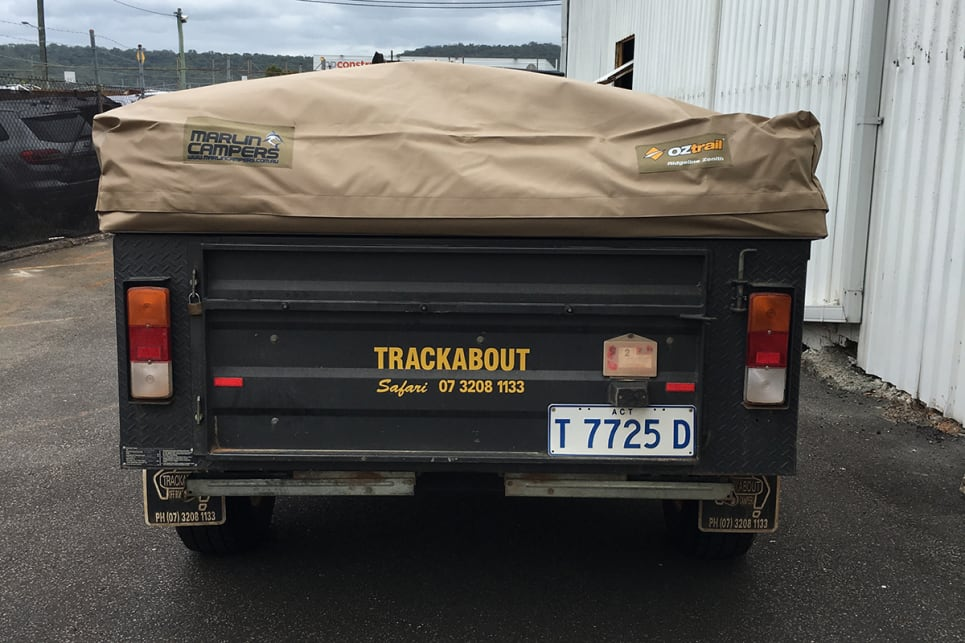 An old Trackabout having its tent replaced by a modern Oztrail camper trailer tent. Image by Marlin Campers.