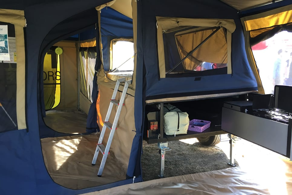 Oztrail's tents are simple to use and very affordable. They'll even suit just about any camper trailer or high-sided box trailer. Image by Marlin Campers.