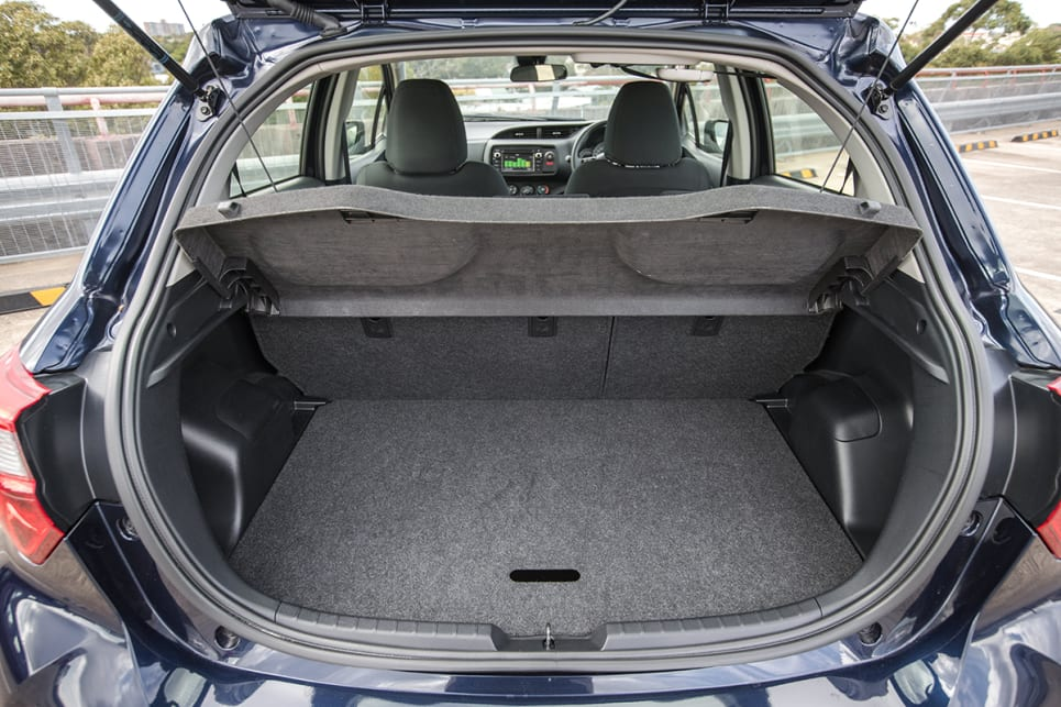 The Yaris, like the Polo, has a removable dual-level liner sections to increase space.