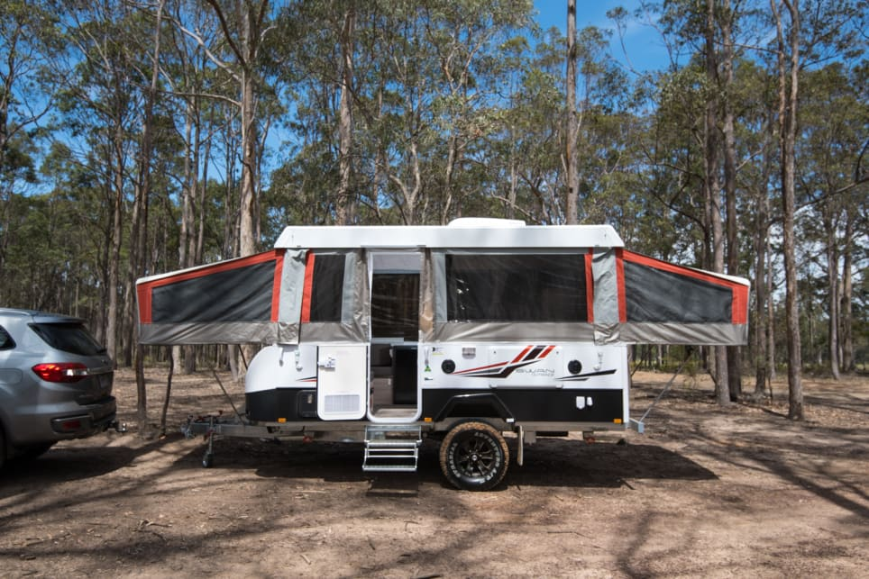 The biggest Jayco camper trailer is perfect for families who want to spread out and for dads who don't want to tow a giant caravan. Images by Brendan Batty.