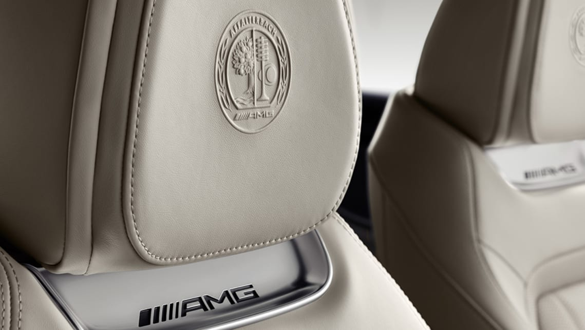 Style highlights such as the Affalterbach seal embossed on the seat headrests.
