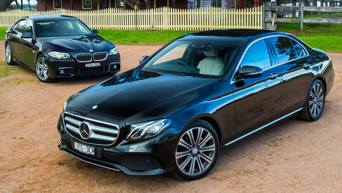 mercedes benz e220d and bmw 520d 2016 review carsguide. Black Bedroom Furniture Sets. Home Design Ideas
