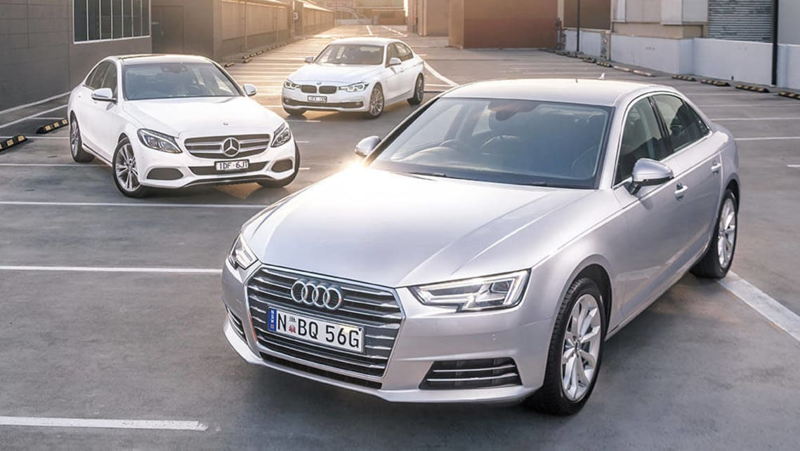audi a4, bmw 3 series and mercedes c-class 2016 review | carsguide