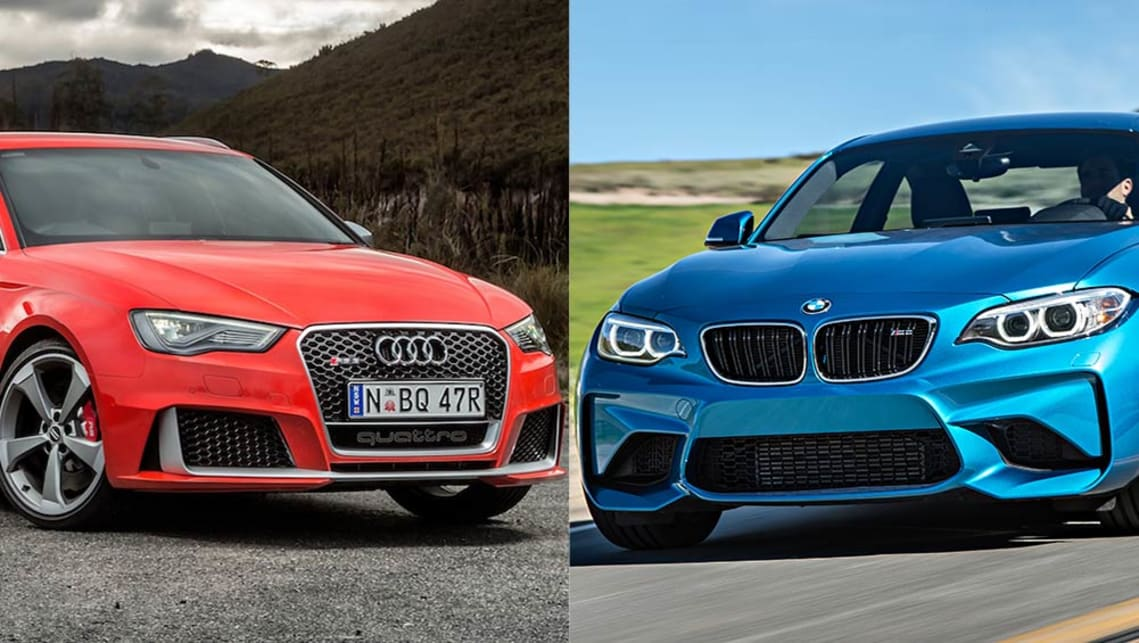 audi rs3 vs bmw m2 2016 review review carsguide. Black Bedroom Furniture Sets. Home Design Ideas