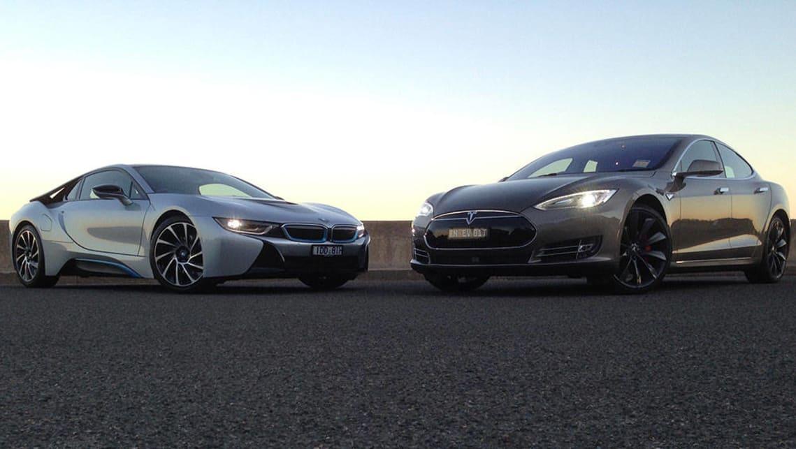 Bmw I8 Vs Tesla Model S 2015 Review Hybrid Vs Electric Carsguide