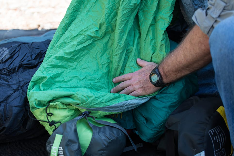 The majority of sleeping bags use synthetic fibre (nylon or a variation of) for the outer shell. (image credit: Dean McCartney)