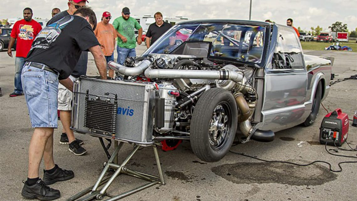 You think a 10.2-litre V8 would be enough, but no! It needs two turbos as well. (image credit: Bangshift)
