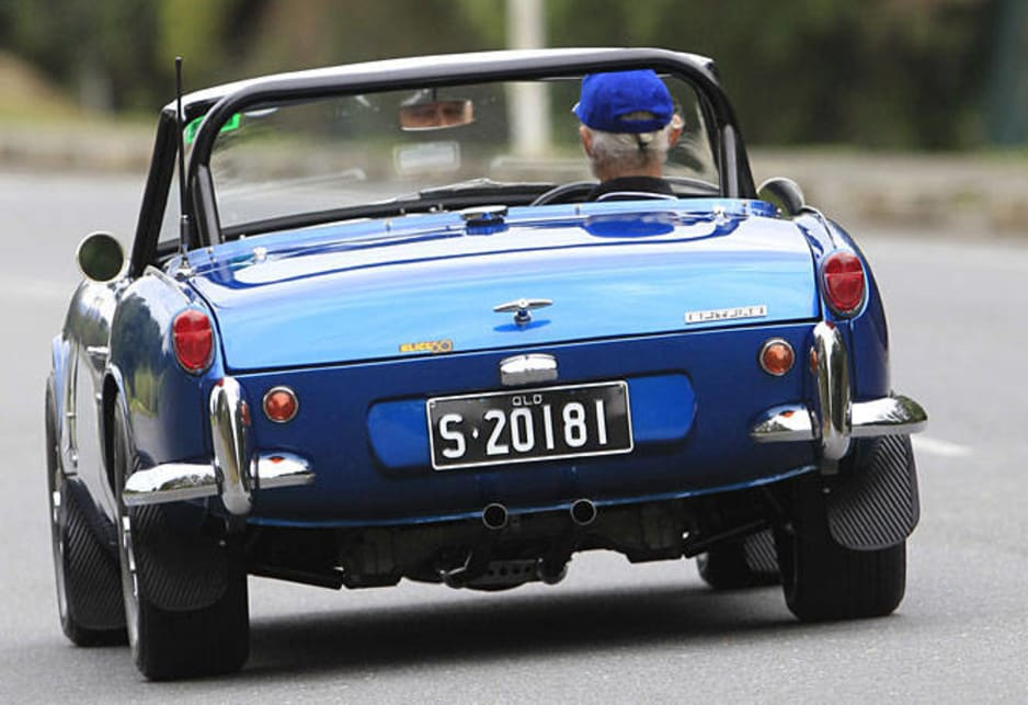 The Triumph Spitfire on the road.