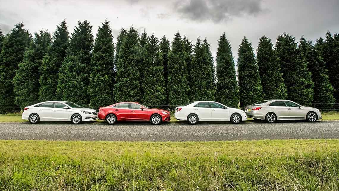 Hyundai sonata mazda6 subaru liberty and toyota camry for Mazda vs honda reliability
