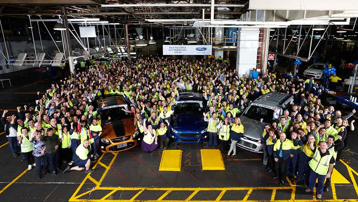 Ford workers at Broadmeadows send off the last ever Falcon GT (left) as the updated Falcon (centre) and Territory (right) go into production ahead of the October 2016 factory closure. 8 October 2014