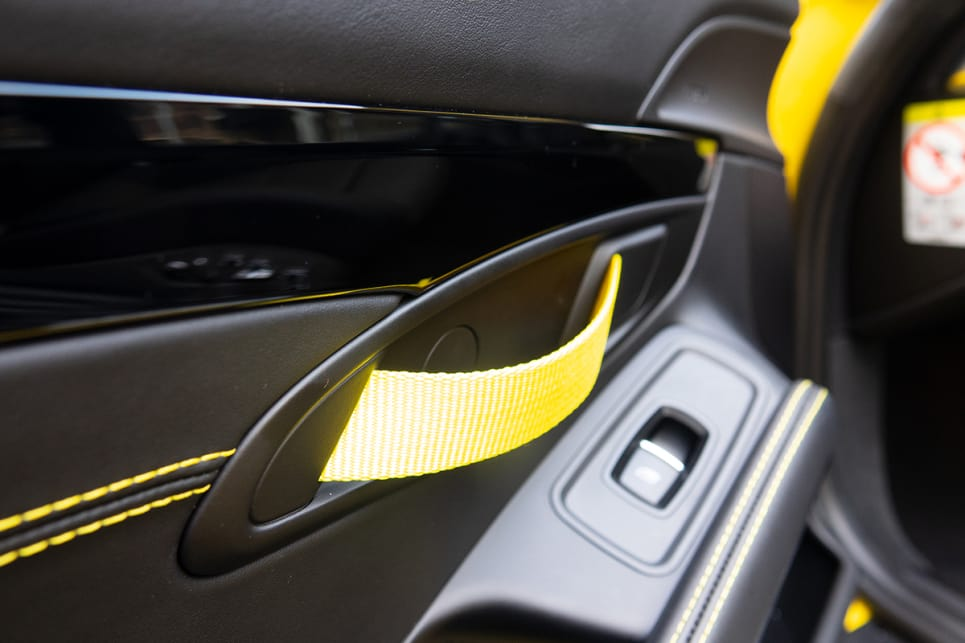 The yellow details extended to stitching and door pulls.