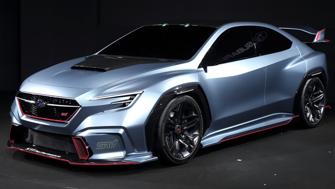 Subaru Viziv Performance STI Concept is wild rather than mild thanks to aggressive aero and pink accents throughout.