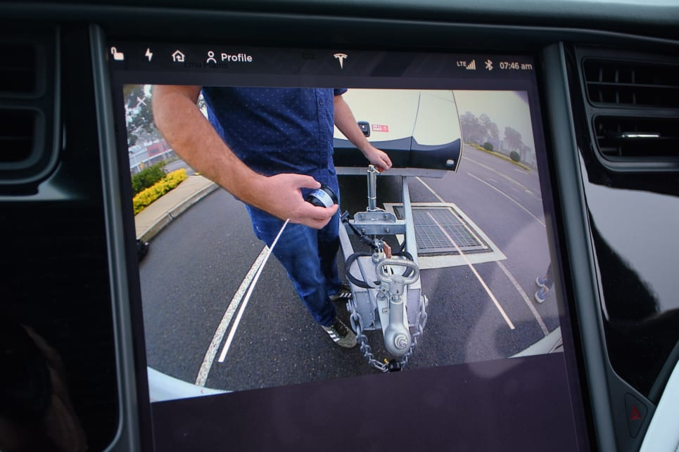 The Model X's reversing camera can be left on all the time, which is very handy for keeping an eye on the hitch. (image: Tom White)