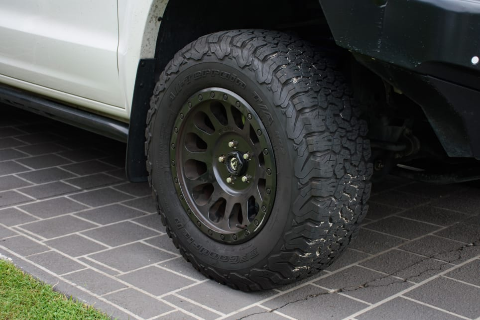 Campbell has BFGoodrich K/O2 All Terrain tyres.