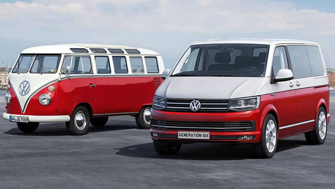 A classic VW Kombi from the 1960s (left) with a limited edition of the 2015 VW Caravelle.