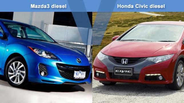 mazda 3 diesel vs honda civic diesel review carsguide. Black Bedroom Furniture Sets. Home Design Ideas