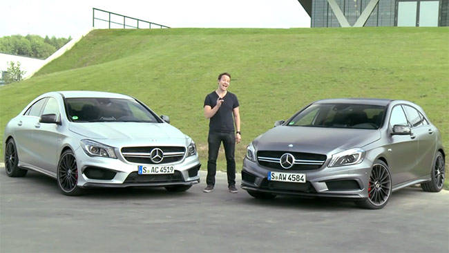mercedes a45 amg vs cla 45 amg 2013 review carsguide. Black Bedroom Furniture Sets. Home Design Ideas