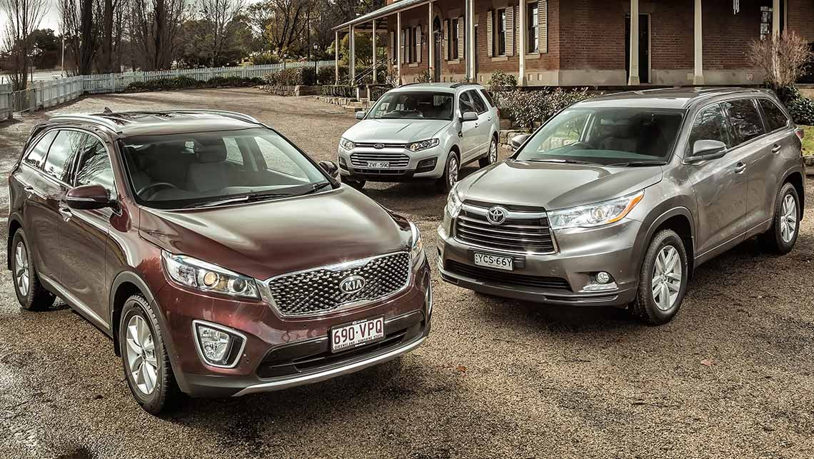 kia sorento toyota kluger and ford territory 2015 review. Black Bedroom Furniture Sets. Home Design Ideas