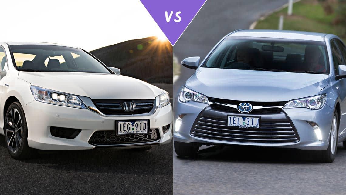Honda accord sport hybrid vs toyota camry hybrid review for Honda accord vs toyota camry