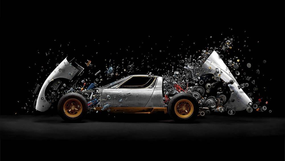 Lamborghini Miura 'blown up' in the name of art