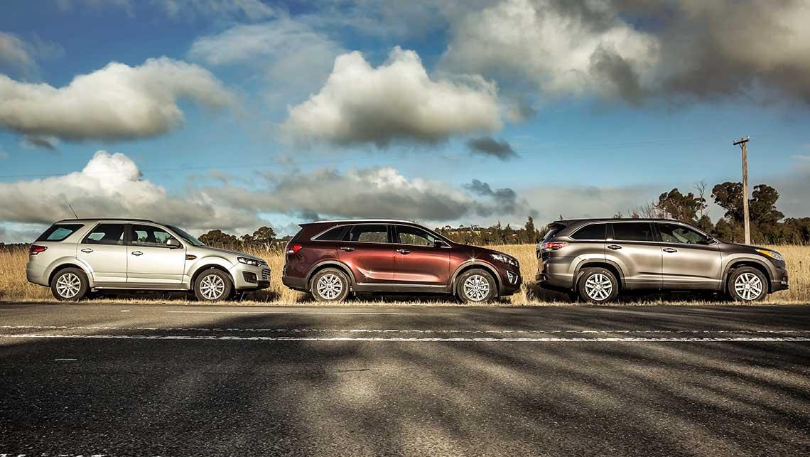 kia sorento toyota kluger  ford territory review  seat suv comparison carsguide
