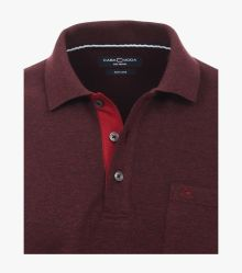 Polo-Shirt Langarm in Bordeauxrot - CASAMODA