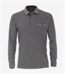 Polo-Shirt Langarm in graues Mittelblau - CASAMODA