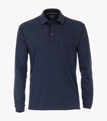 Polo-Shirt Langarm in mittleres Dunkelblau - CASAMODA