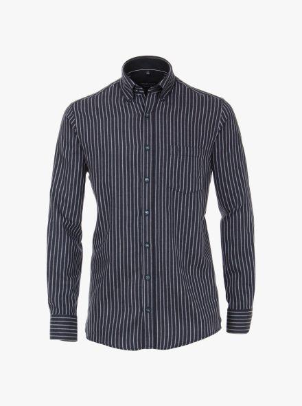 Flanellhemd in graues Dunkelblau Comfort Fit - CASAMODA