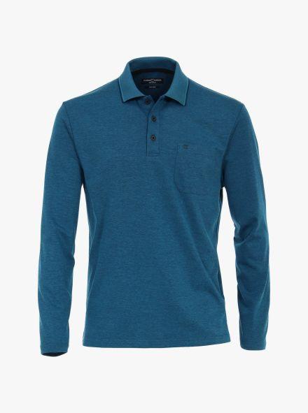 Polo-Shirt Langarm in dunkles Türkis - CASAMODA