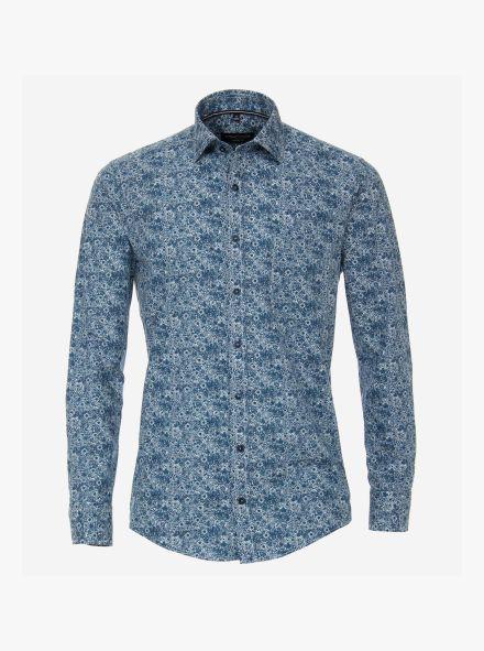Freizeithemd in dunkles Mittelblau Casual Fit - CASAMODA