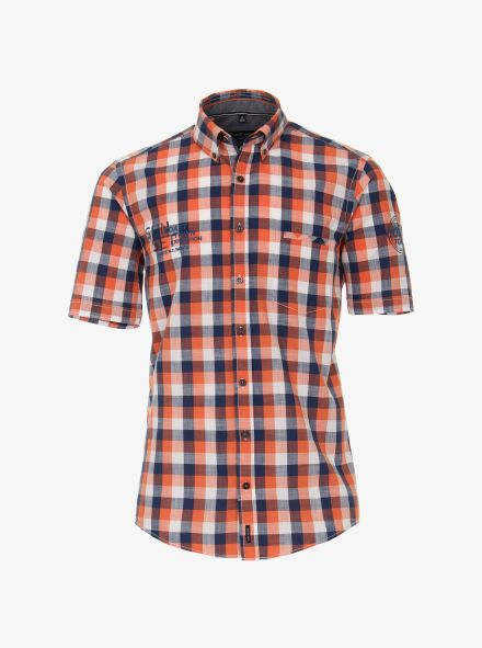 Freizeithemd Kurzarm in Orange Casual Fit - CASAMODA