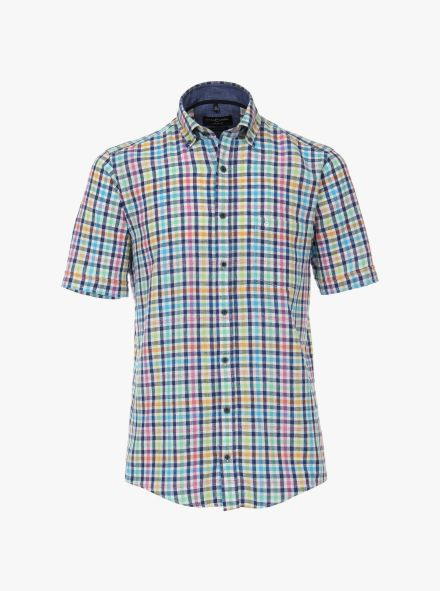 Lenenhemd in Mittelblau Casual Fit - CASAMODA