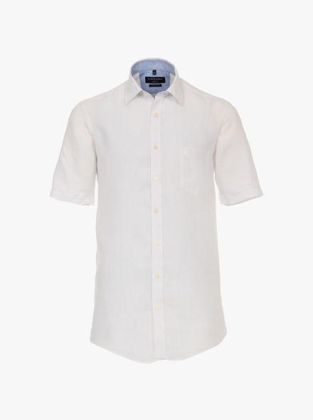 Leinenhemd Kurzarm in Weiß Casual Fit - CASAMODA