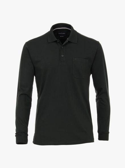 Polo-Shirt Langarm in Olive - CASAMODA