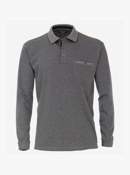 Polo-Shirt Langarm in Weißblau - CASAMODA