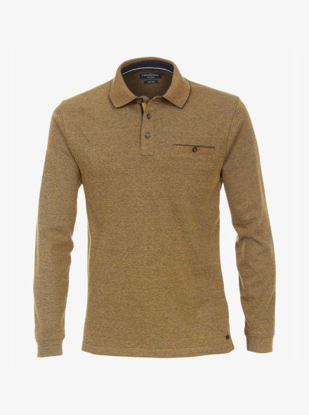 Polo-Shirt Langarm in Senfgelb - CASAMODA