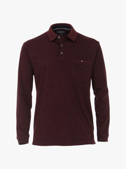 Polo-Shirt Langarm in Dunkelrot - CASAMODA