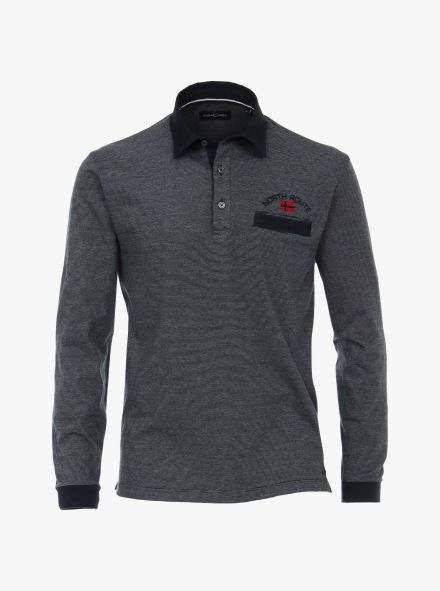 Polo-Shirt Langarm in Grau - CASAMODA