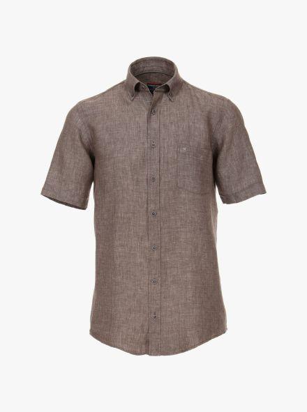 Leinenhemd Kurzarm in Braun Casual Fit - CASAMODA