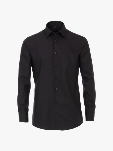 Businesshemd extra langer Arm 69cm in Tiefschwarz Modern Fit - VENTI