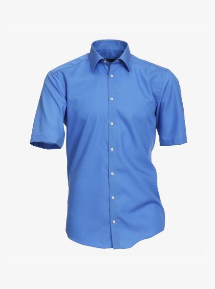 Businesshemd Kurzarm in dunkles Mittelblau Modern Fit - VENTI