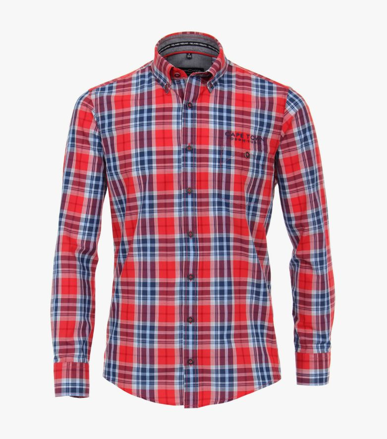 Freizeithemd in sattes Rot Casual Fit - CASAMODA