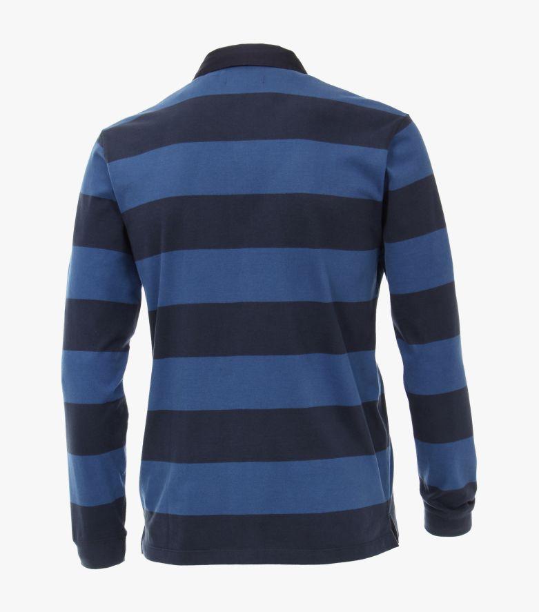 Polo-Shirt Langarm in Dunkelblau - CASAMODA